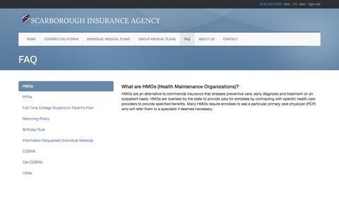Screenshot of FAQ Page siagency.net - FAQ • Scarborough Insurance Agency - captured Oct. 4, 2014