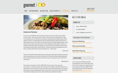 Screenshot of Testimonials Page gourmet45.com - Gourmet 45 Catering Menus | Breakfast, Lunch, Dinner, Complete Meal Deals Starting at $10.99 - captured Sept. 30, 2014