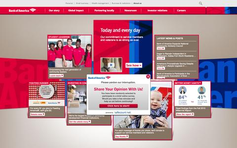 Screenshot of About Page bankofamerica.com - About Bank of America - Service, Commitment & Philanthropy - captured Nov. 5, 2015