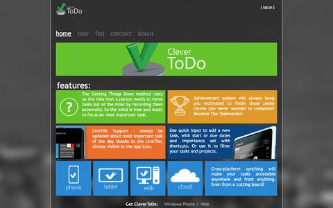 Screenshot of Home Page clevertodo.net - CleverToDo - GTD - captured April 19, 2016