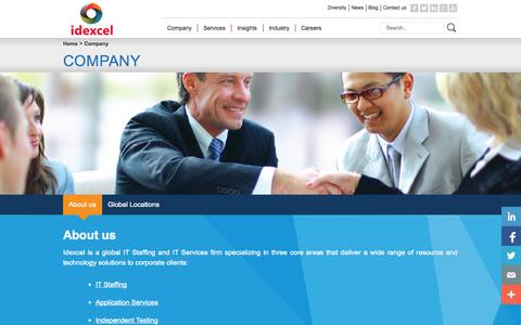 Screenshot of About Page idexcel.com - Company | idexcel - captured Oct. 29, 2014