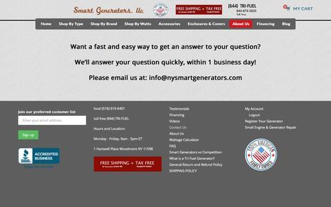 Screenshot of Contact Page nysmartgenerators.com - Contact Us - Smart Generators - captured Oct. 22, 2017