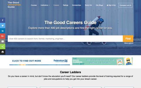 Screenshot of Jobs Page gooduniversitiesguide.com.au - The Good Careers Guide | Job Guide - captured Feb. 20, 2018