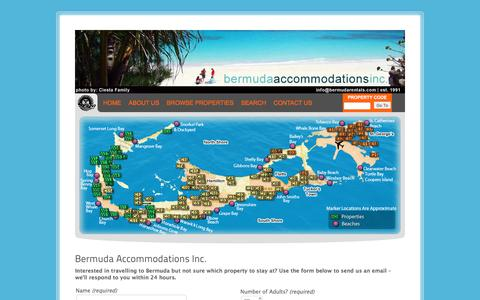 Screenshot of Home Page bermudarentals.com - Bermuda Accommodations Inc. | Bermuda vacation rental properties for a wide range of budgets, from basic bachelor suites to luxurious villas. - captured Nov. 22, 2016