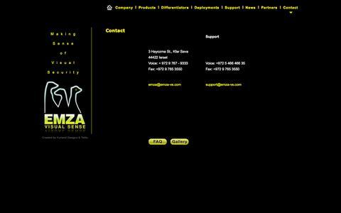 Screenshot of Contact Page emza-vs.com - EMZA Visual Sense : :Deployments - captured Oct. 27, 2014