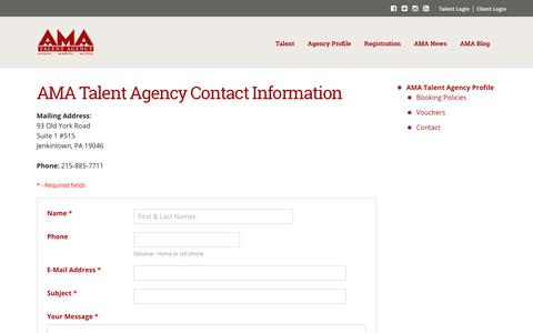 Screenshot of Contact Page amatalentagency.com - Contact Us | AMA Talent Agency - captured Nov. 6, 2018