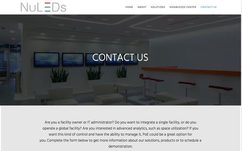 Screenshot of Contact Page nuleds.com - Contact Us | NuLEDs - Intelligent LED Lighting - captured Dec. 1, 2016