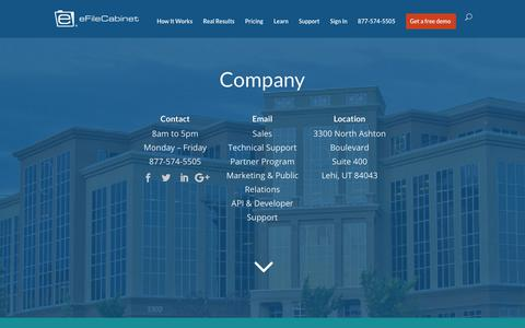 Screenshot of About Page efilecabinet.com - About Us - eFileCabinet Document Management Software   eFileCabinet - captured March 6, 2018