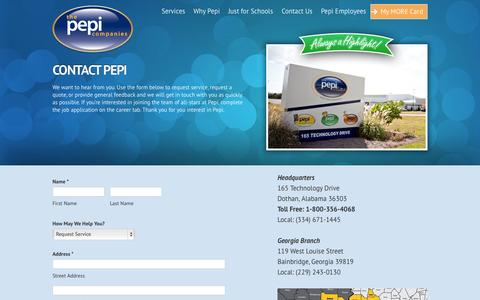Screenshot of Contact Page pepifoods.com - Contact Pepi | The Pepi Companies - captured Oct. 2, 2014