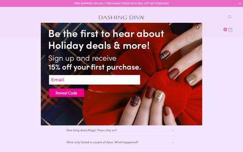 Screenshot of FAQ Page dashingdiva.com - Frequently Asked Questions | Dashing Diva - captured Dec. 9, 2018