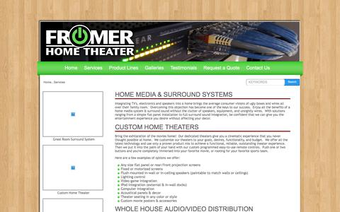 Screenshot of Services Page fromerht.com - Services   Fromer Home Theater - captured Sept. 24, 2018