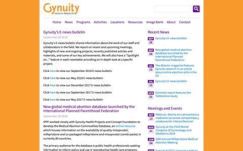 Screenshot of Press Page gynuity.org - News | Gynuity Health Projects - captured Sept. 30, 2018