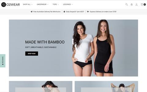Screenshot of Home Page o2wear.com - Bamboo Clothing - O2wear Australia - Women's Bamboo Basics - captured Nov. 6, 2018