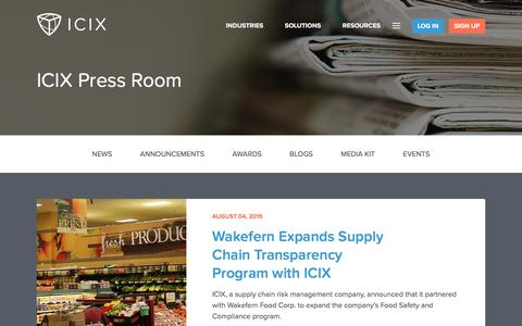 Screenshot of Press Page icix.com - ICIX Press Room • ICIX - captured Dec. 4, 2015