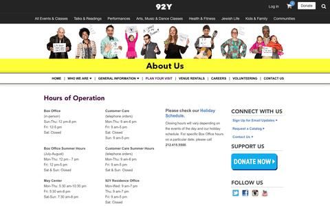 Screenshot of Hours Page 92y.org - Hours of Operation  - 92nd Street Y - New York, NY - captured Feb. 6, 2017