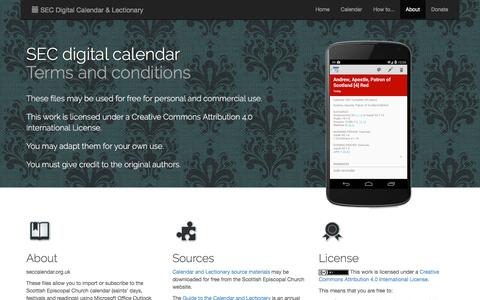 Screenshot of About Page seccalendar.org.uk - Terms and Conditions | SEC Digital Calendar and Lectionary for Outlook, Google Calendar, iCal, etc. - captured May 7, 2017