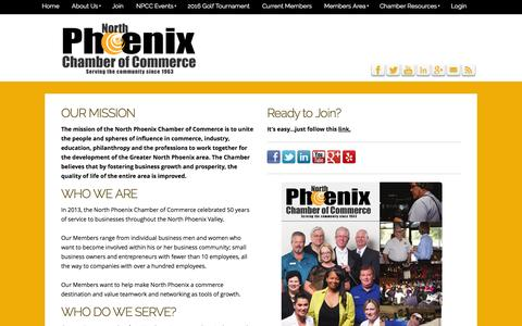 Screenshot of About Page northphoenixchamber.com - North Phoenix Chamber of Commerce - About - captured Feb. 15, 2016