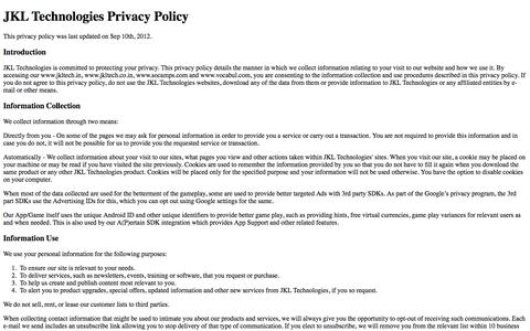 Screenshot of Privacy Page jkltech.in - Privacy Policy - captured Oct. 4, 2014