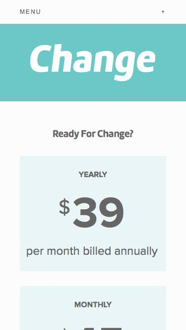 Screenshot of Pricing Page  change.io - Pricing For Your Change Restaurant Point of Sale Terminal — Change