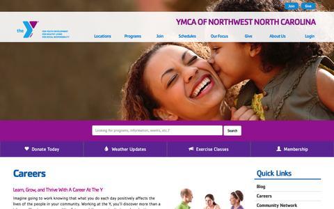 Screenshot of Jobs Page ymcanwnc.org - Careers - YMCA of Northwest North Carolina - captured Feb. 3, 2016