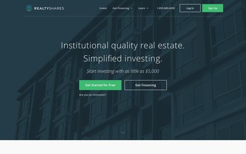 Screenshot of Home Page realtyshares.com - Real Estate Crowdfunding & Investing | RealtyShares - captured Jan. 30, 2017