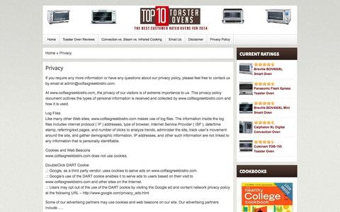 Screenshot of Privacy Page colfaxgreekbistro.com - Privacy | Top 10 Toaster Ovens - captured Oct. 28, 2014