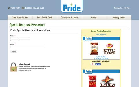 Screenshot of Signup Page pridestores.com - Pride Stores - captured Sept. 2, 2017