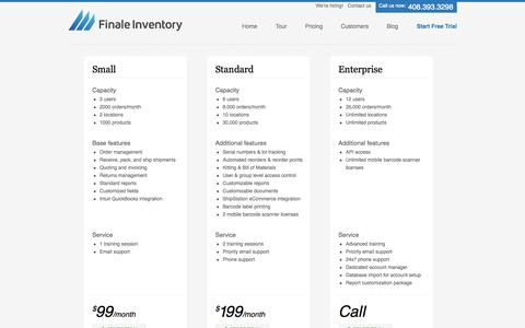 Screenshot of Pricing Page finaleinventory.com - Cloud inventory management, Cloud-based inventory management system - captured Sept. 23, 2014