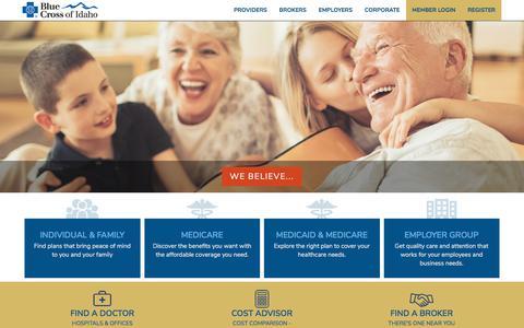 Screenshot of Home Page bcidaho.com - Idaho Health Insurance - Blue Cross of Idaho - captured June 28, 2019