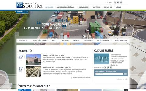 Screenshot of Home Page soufflet.com - Le Groupe - captured Oct. 1, 2014