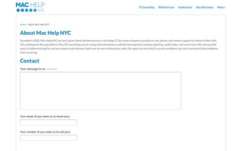 Screenshot of About Page Contact Page machelpnyc.com - About Mac Help NYC   Mac Help NYC - captured Oct. 23, 2014