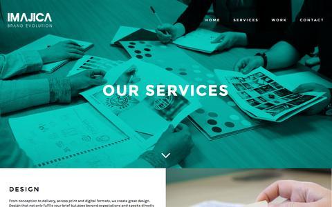 Screenshot of Services Page imajica.com - Our Services - captured Nov. 26, 2016