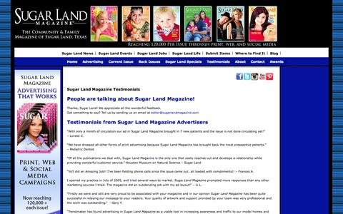 Screenshot of Testimonials Page sugarlandmagazine.com - Sugar Land Magazine Testimonials - Sugar Land Magazine - captured Oct. 7, 2014