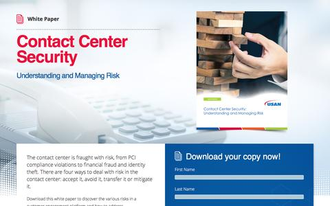 Screenshot of Landing Page usan.com - White Paper - Metaphor Contact - Contact Center Security: Understanding and Managing Risk - captured Sept. 7, 2016