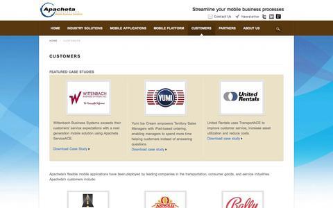 Screenshot of Case Studies Page apacheta.com - Customers - Apacheta - captured Oct. 4, 2014