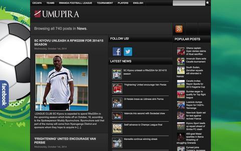 Screenshot of Press Page umupira.com - News   Umupira-Kinyarwanda, Rwanda Sports, African Football, European Football, Soccer, Basketball, Sports - captured Oct. 30, 2014