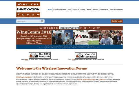 Screenshot of Home Page wirelessinnovation.org - Wireless Innovation Forum - working toward SDR, CR and DSA innovation - captured Oct. 20, 2018