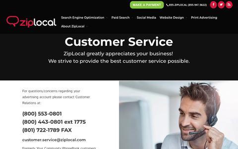 Screenshot of Support Page ziplocal.com - Customer Service - Ziplocal - captured Oct. 16, 2018