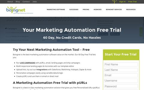 Screenshot of Trial Page boingnet.com - 60 Day Free Trial - Lightweight Marketing Automation |Boingnet - Boingnet - captured Feb. 7, 2016