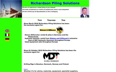 Screenshot of Home Page piling-solutions.com - index - captured Oct. 6, 2014