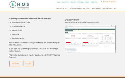 Screenshot of Trial Page h-outcomes.com - Free Trial | Health Outcomes Sciences - captured Jan. 12, 2017