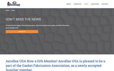 Screenshot of Press Page aeroflexusa.com - News - Aeroflex USA Inc - captured May 29, 2017