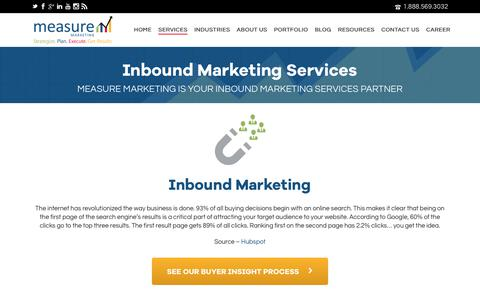 Screenshot of Services Page measuremarketing.net - #1 Inbound Marketing Agency Toronto | Online Branding & B2B Services - captured Oct. 17, 2018
