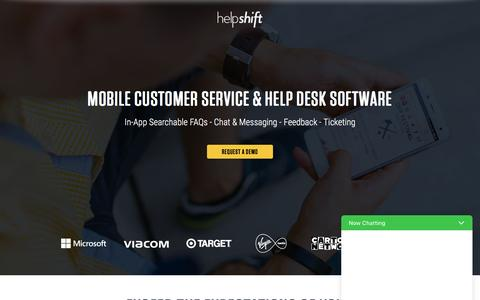 Screenshot of Support Page helpshift.com - Helpshift In-App Customer Service Software - captured May 4, 2017