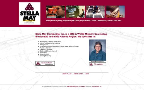 Screenshot of Home Page stellamay.com - Stella May Contracting, Inc. - captured Oct. 7, 2014