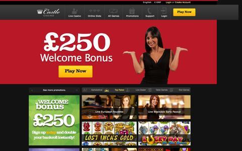 Screenshot of Home Page castlecasino.com - Castle Casino | Claim £250 Free & Play Live Casino Games - captured Dec. 1, 2015