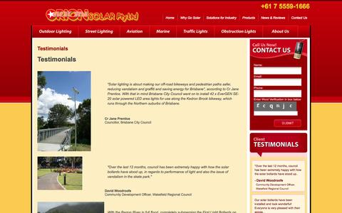 Screenshot of Testimonials Page orionsolar.com.au - Testimonials - captured Oct. 26, 2014