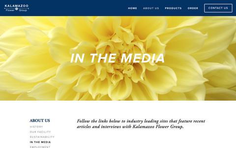 Screenshot of Press Page kalamazooflowergroup.com - In the Media — Kalamazoo Flower Group - captured Sept. 20, 2018
