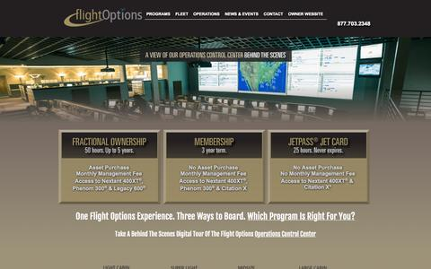Screenshot of Home Page flightoptions.com - Fractional Private Jet Ownership | Jet Membership Club | JetPASS® Jet Card | Flight Options LLC - captured Sept. 23, 2014