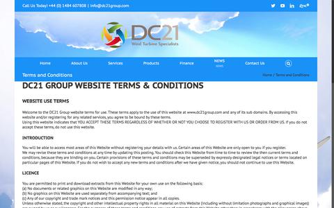 Screenshot of Terms Page dc21group.com - Terms and Conditions - DC21 Group - captured June 3, 2017
